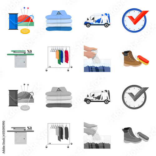 Obraz na plátně  Isolated object of laundry and clean icon