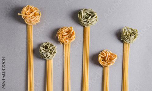 Flowers of Spaghetti and tagliatelle Obraz na płótnie