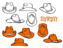 Cowboy Hats Set. Vector Hand Drawn Graphic Illustration Of Westrn Hats Clothes Isolated On White For Design