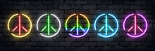 Vector Set Of Realistic Isolated Neon Sign Of Peace Logo For Decoration And Covering On The Wall Background. Concept Of Happy International Peace Day.