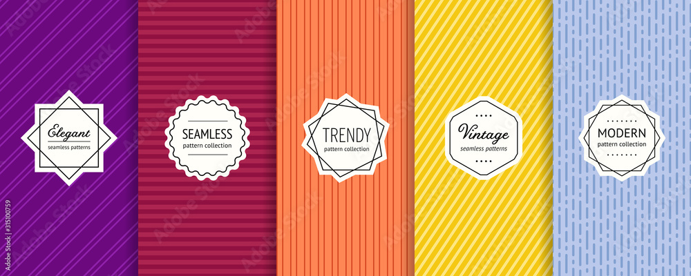 Fototapeta Striped seamless patterns set. Vector collection of colorful geometric background swatches with modern labels. Minimalist texture with lines, stripes. Purple, maroon, orange, yellow and blue design