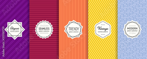 Fototapeta Striped seamless patterns set. Vector collection of colorful geometric background swatches with modern labels. Minimalist texture with lines, stripes. Purple, maroon, orange, yellow and blue design obraz