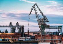 Large Industrial Port Cranes