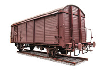 Old Freight Wagon On White