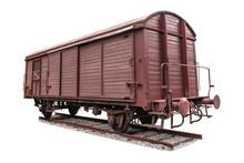 Old Freight Wagon On White