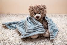 Teddy Bear In Soft Grey Blanket