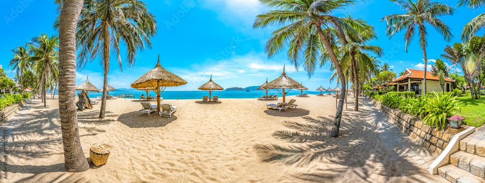 Fototapeta Beautiful Scenery of Nha Trang, a Tropical Coastal Vacation Paradise in Vietnam, Southeast Asia.