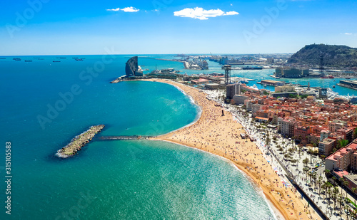 Photo Barcelona central beach aerial view Sant Miquel Sebastian plage La Barceloneta d