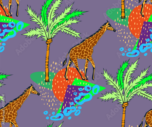 Fototapeta Vector background hand drawn exotic wild animals