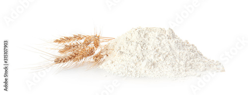 Obraz na płótnie Heap of flour on white background