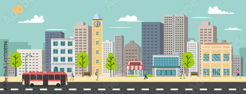 Obraz Cityscape and company buildings , minibus and van on street vector illustration.Business buildings and public bus stop in urban.Smart city with sky background - fototapety do salonu