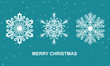 Christmas card with snowflake. Vector flat illustration.