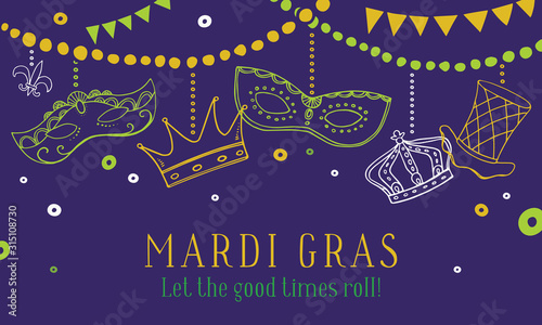 Mardi Gras composition with masks, crowns and hat hanging on beads Wallpaper Mural