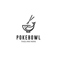 Poke Fish Bowl Line Art Logo Design