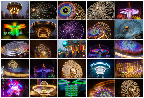 Fotografering Set of colorful rides in amusement park.
