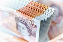 Close Up Ten Pound Note Stack