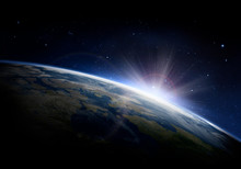 Sunlight Ascending Over Earth ...