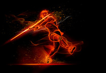Computer Generated Image Track And Field Athlete Throwing Javelin