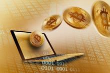 Golden Bitcoins Over Laptop
