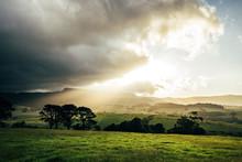 Sunrise Clouds Over Idyllic Rural Green Landscape Kiama Australia