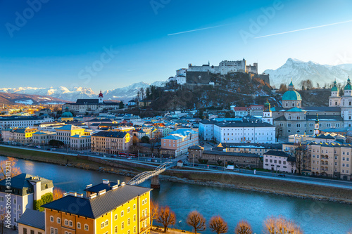Beautiful panoramic view of the historic city of Salzburg in winter, Austria Canvas Print