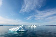 Melting Polar Ice On Sunny Blu...