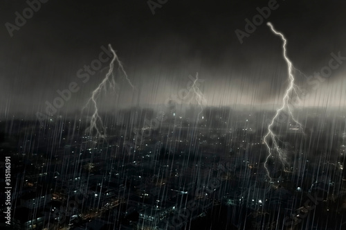 Apocalyptic scene on city with thunderstorm Tablou Canvas