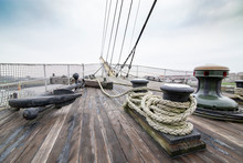 Old Sail Ship With Wooden Deck...