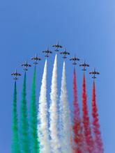 Italian Air Force Aerobatic Demonstration Team Frecce Tricolori Flying Display During Air Show Falcon Wings 2019 At Siauliai Air Base
