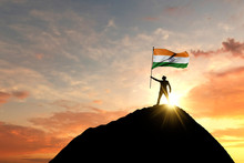 Indian Flag Being Waved At The...