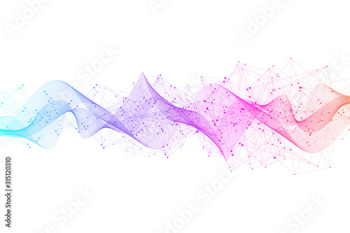 Abstract plexus background with connected lines and dots. Plexus geometric effect. Digital data visualization. Futuristic technology style low-poly element for design. Vector illustration.