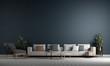 Leinwanddruck Bild - Modern minimal interior design of living room and bluewall pattern background