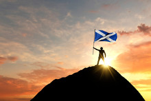 Scottish Flag Being Waved At T...