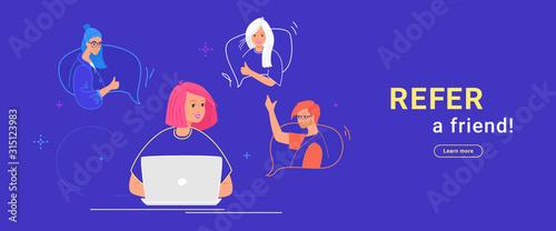 Obraz Refer a friend flat vector illustration of happy teenage woman using laptop to invite friends - fototapety do salonu