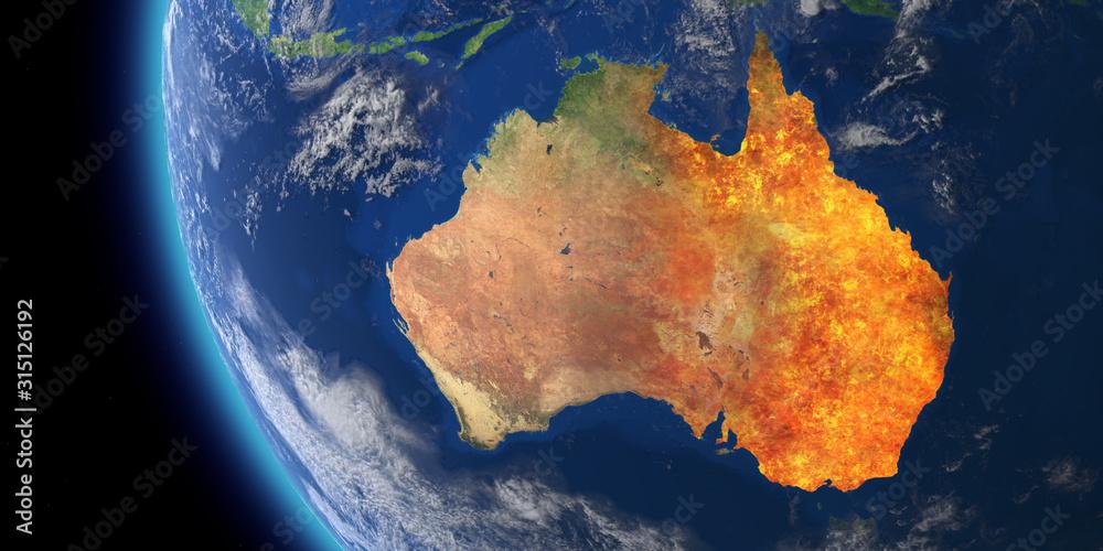 Fototapeta Australia wildfire crisis. Map of australia fires. 3D Rendering