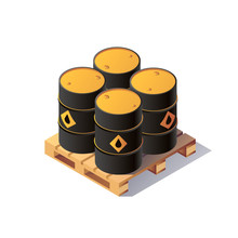 Vector Set Barrels Isometric On Wooden Pallet. Isolated Set Of Oil Barrels Icons. Flat 3d Isometric Illustration.