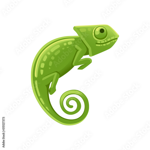 Cute small green chameleon lizard cartoon animal design flat vector illustration Tableau sur Toile