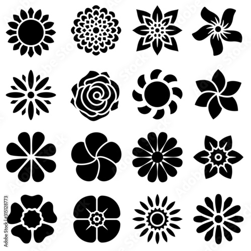 Flowers vector icons set. Beautiful garden plants illustration sign collection. - 315128773