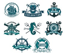 Heraldic Ship Anchor And Helm Vector Icons, Captain Spyglass And Frigate Sailboat, Aqualung And Lifeguard Buoy, Seahorse And Trident. Diving Club, Sea And Ocean Exploration Adventure Nautical Icons