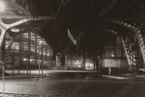 Old bridge construction, at Night, Berlin, Black and White, Gleisdreieck, Berlin City, Berlin at night, Gleisdreieck at Night, Black and White Photo, elevated railway in berlin germany, silky contrast