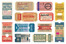 Underground Vintage Tickets Vector Templates, Subway Train And Electric Railways. Underground Transportation Retro Pass Cards Or Trip Coupons With Cut Lines. Isolated On White