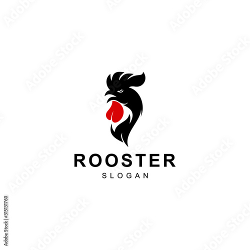 Rooster Logo Design Template Illustration, Chicken Head Logo Design Tablou Canvas