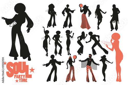 Soul dance clipart collection. Set of soul, funk or disco dancers isolated on white background.. - 315132134
