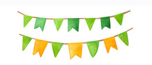 St. Patrick's Day Watercolor Garland Flags.