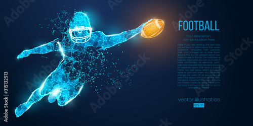 Abstract football player from particles, lines and triangles on blue background. Rugby. American footballer. All elements on a separate layers, color can be changed to any other in one click. Vector