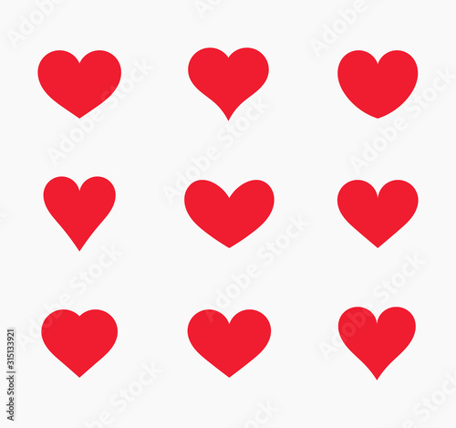 Red hearts icons. Fototapet