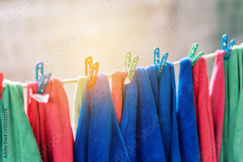 Vászonkép microfiber clothes hanging out to dry, closeup look at fiber structure,for clean