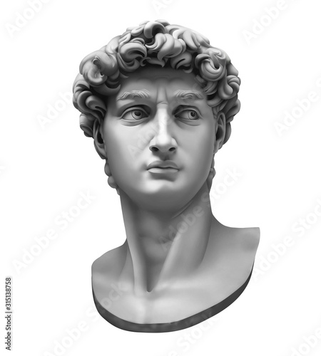 Papel de parede 3D rendering of Michelangelo's David bust isolated on white.