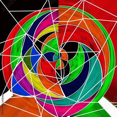 Vászonkép Sfondo con forme circolari multicolore astratte