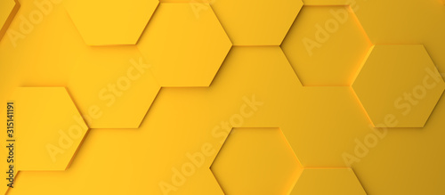 Obraz Abstract modern yellow honeycomb background - fototapety do salonu